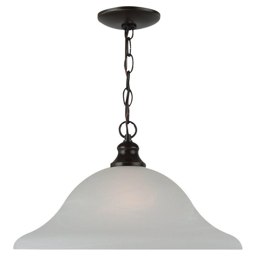 Sea Gull Lighting Windgate 15.75-in Heirloom Bronze Single Alabaster Glass Bell Pendant