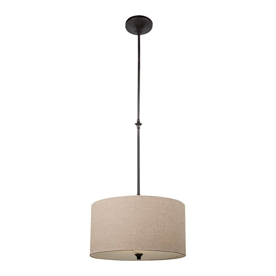 Sea Gull Lighting Stirling 16-in Burnt Sienna Hardwired Single Drum Pendant