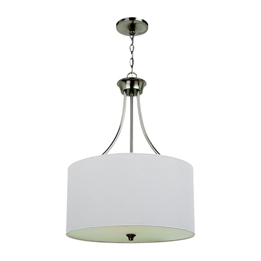 Sea Gull Lighting Stirling 19-in Brushed Nickel Single Drum Pendant