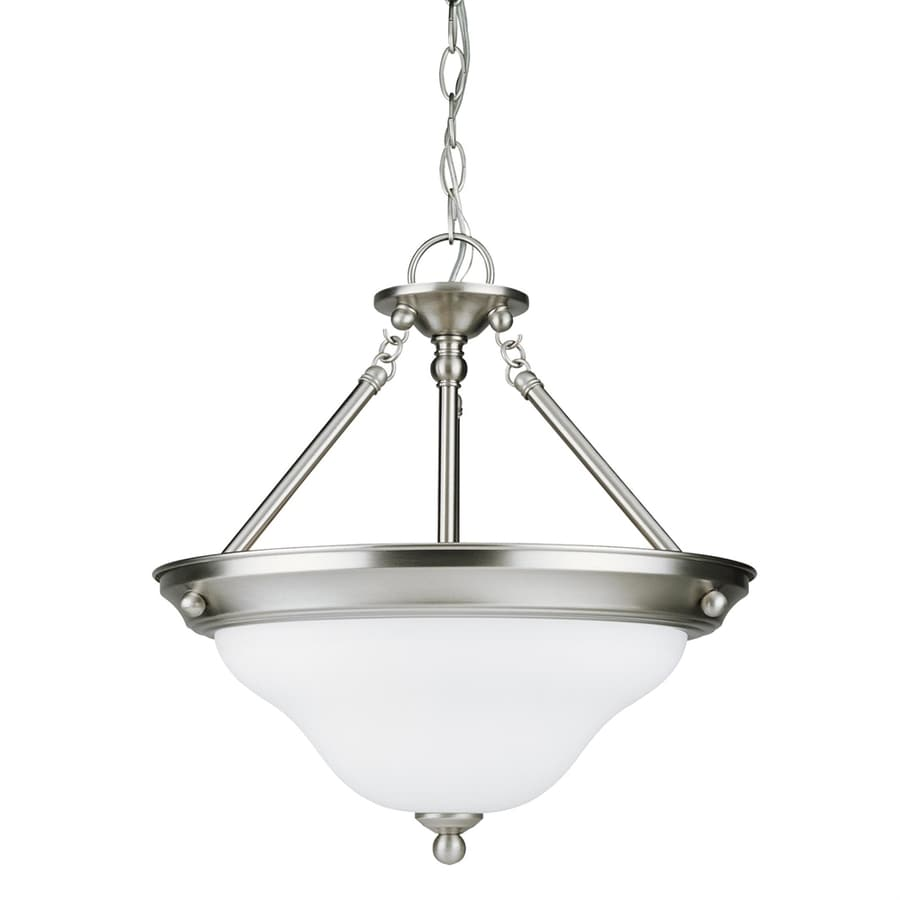 Sea Gull Lighting Sussex 15.25-in Brushed Nickel Single Bowl Pendant