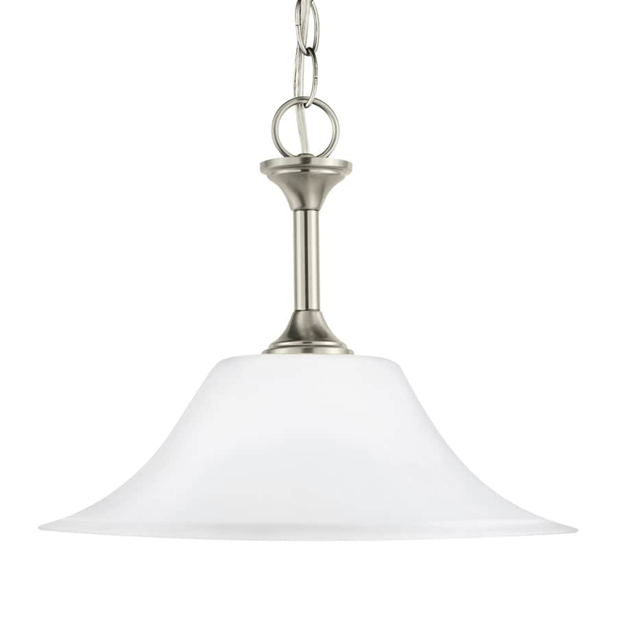 Sea Gull Lighting Holman 15-in Brushed Nickel Single Etched Glass Bell Pendant