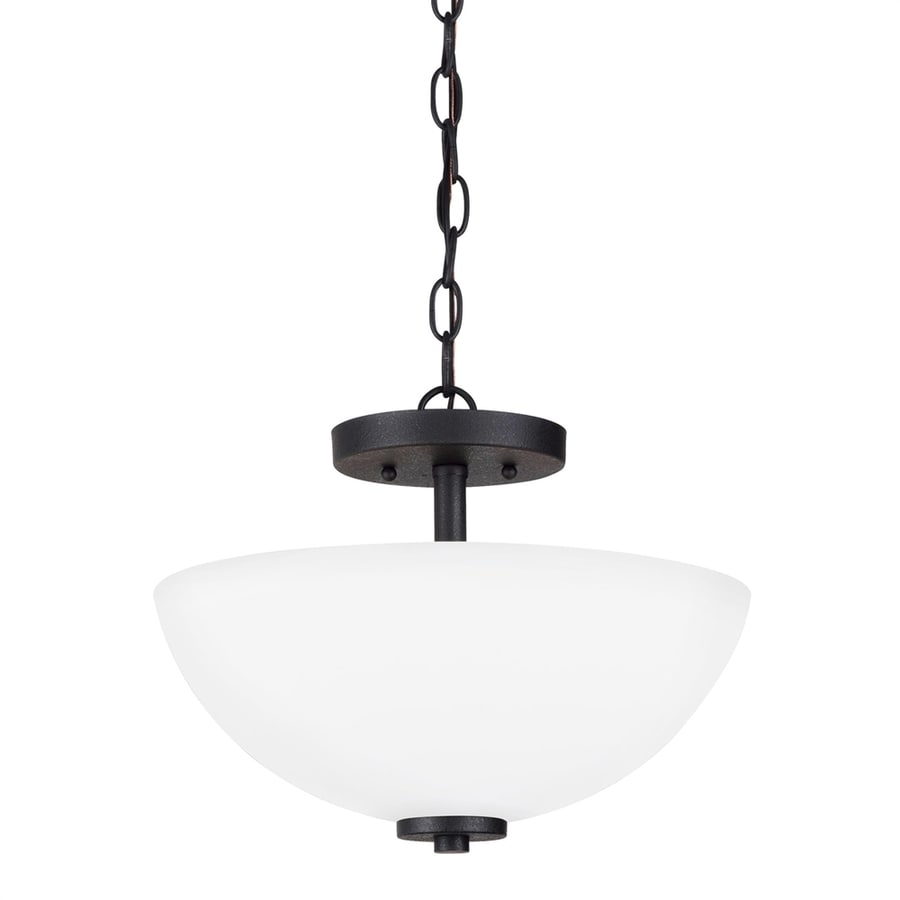 Sea Gull Lighting Oslo 13.5-in Blacksmith Single Etched Glass Bowl Pendant