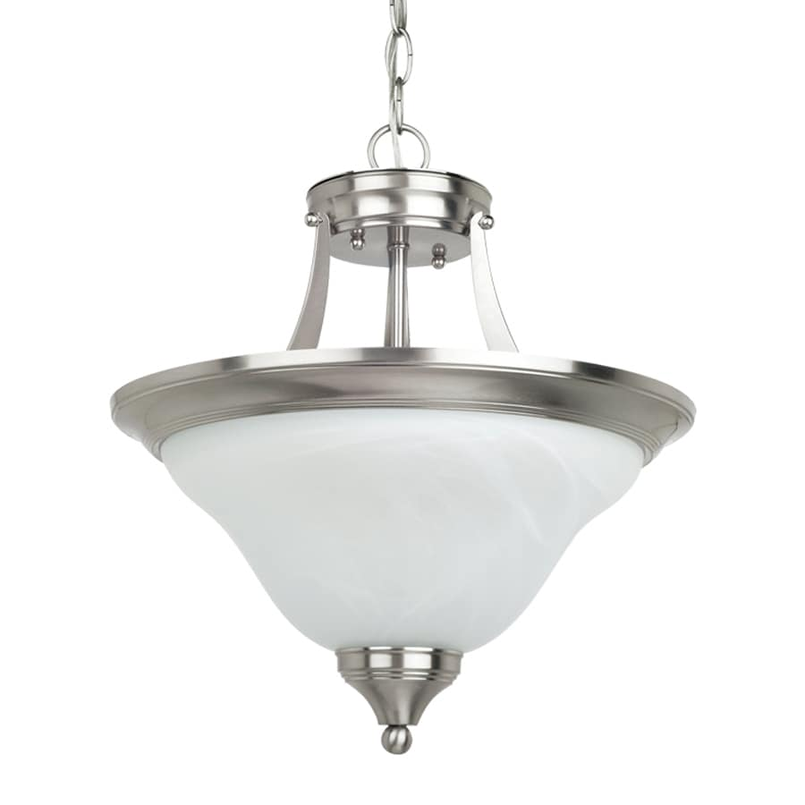 Sea Gull Lighting Brockton 14.5-in Brushed Nickel Hardwired Single Alabaster Glass Bowl Pendant
