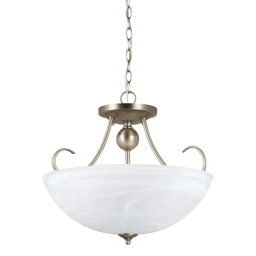 Sea Gull Lighting Lemont 16.5-in Antique Brushed Nickel Single Alabaster Glass Bowl Pendant