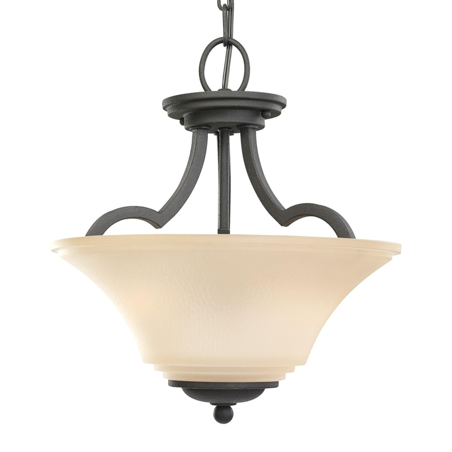 Sea Gull Lighting Somerton 13.25-in Blacksmith Mediterranean Single Etched Glass Bowl Pendant