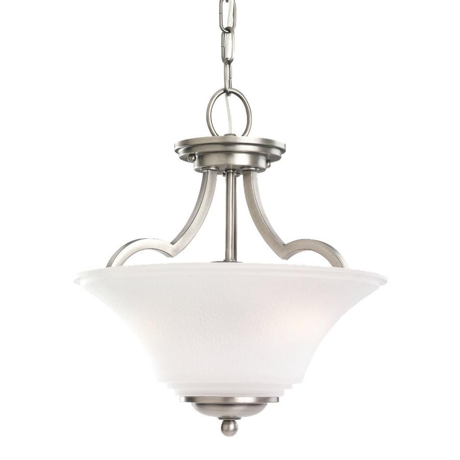 Sea Gull Lighting Somerton 13.25-in Antique Brushed Nickel Vintage Single Etched Glass Bowl Pendant