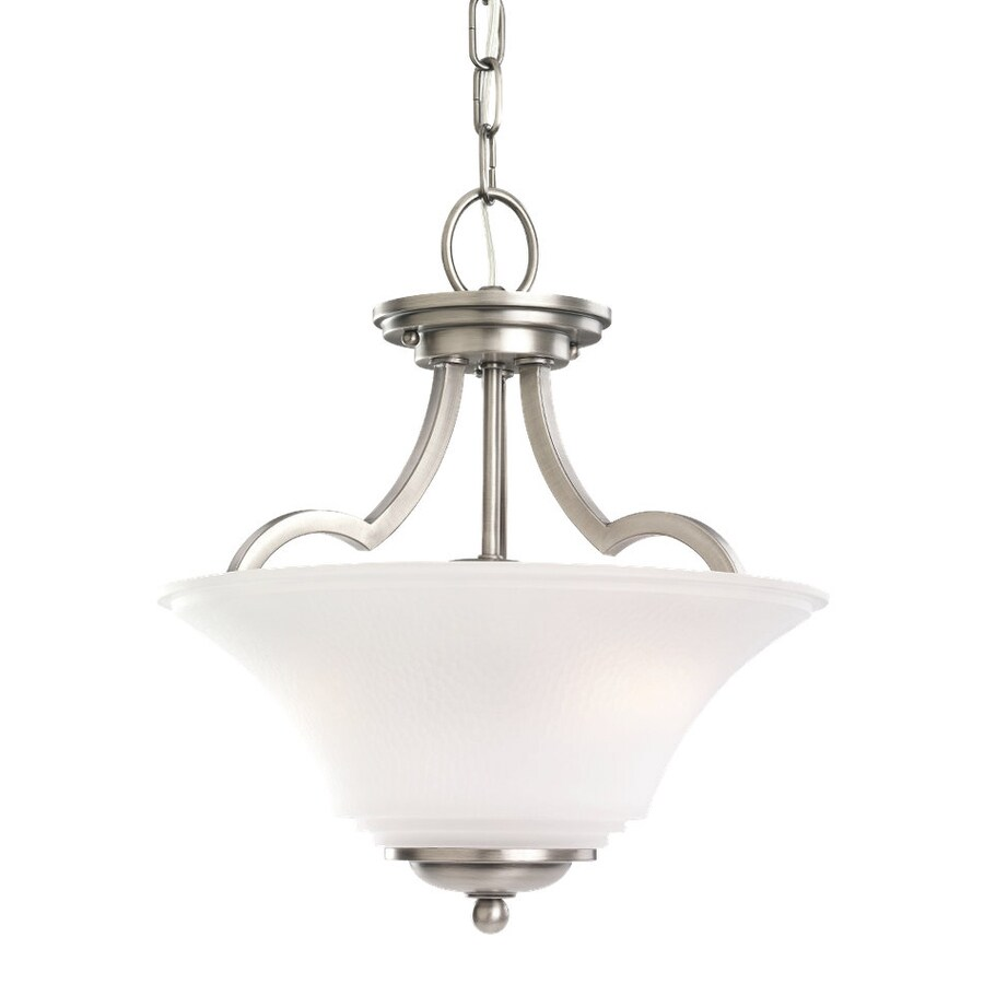 Sea Gull Lighting Somerton 13.25-in Antique Brushed Nickel Vintage Hardwired Single Etched Glass Bowl Pendant