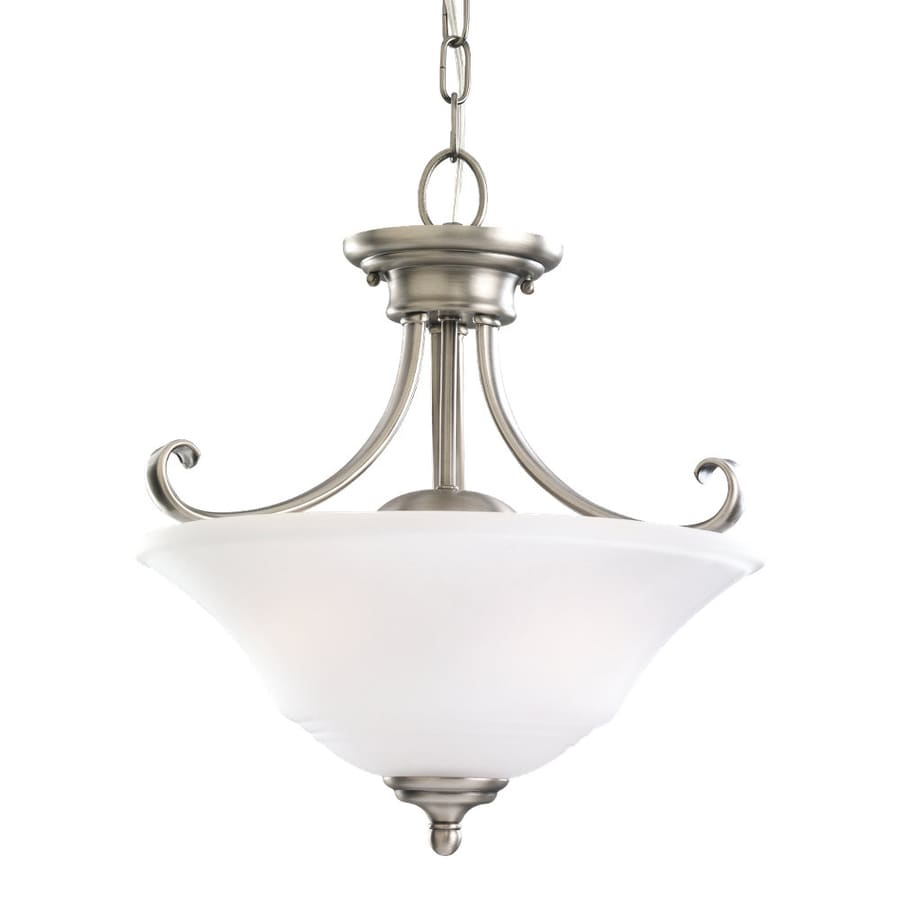 Sea Gull Lighting Parkview 15-in Antique Brushed Nickel Vintage Hardwired Single Etched Glass Bowl Pendant