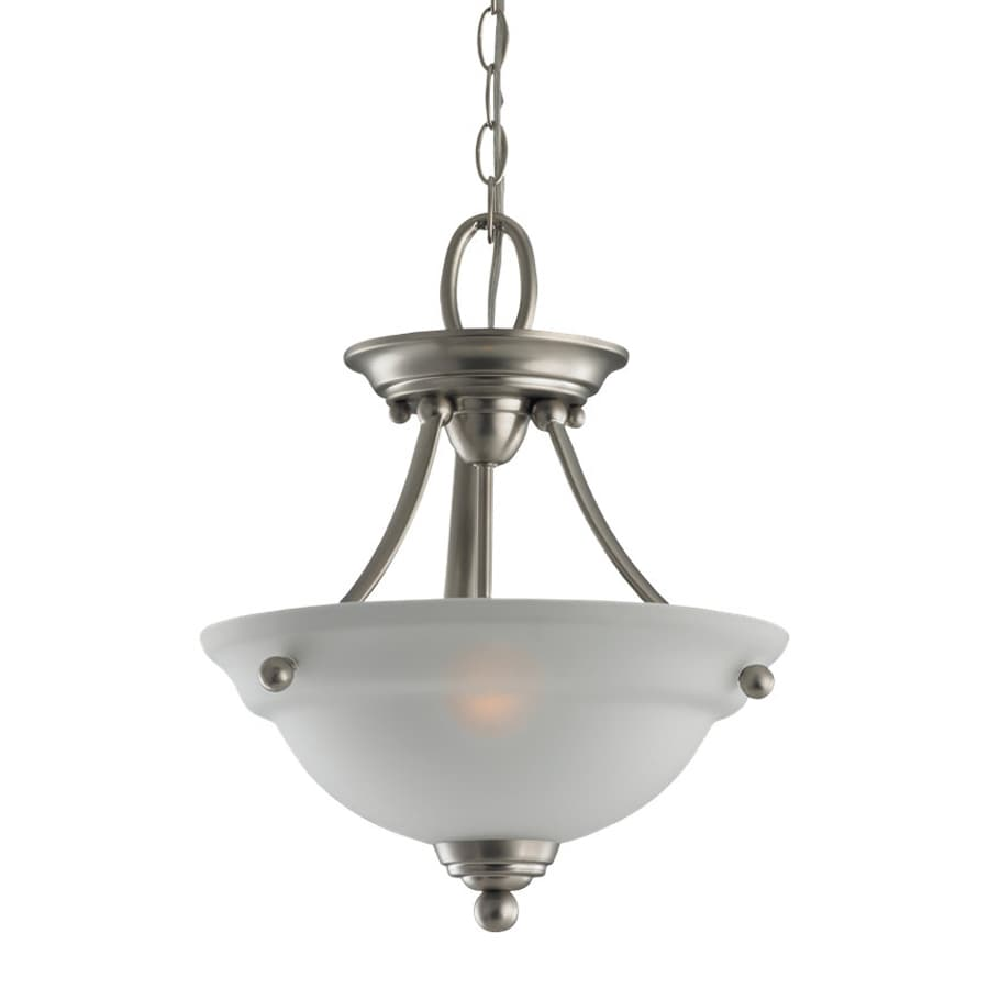 Sea Gull Lighting Wheaton 12.44-in Brushed Nickel Hardwired Single Etched Glass Bowl Pendant