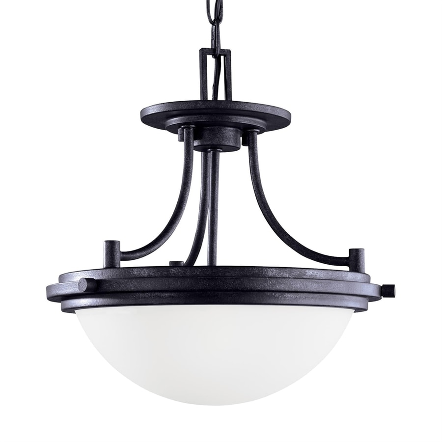 Sea Gull Lighting Winnetka 14.25-in Blacksmith Craftsman Single Etched Glass Bowl Pendant