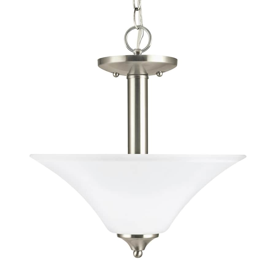 Sea Gull Lighting Holman 13.25-in Brushed Nickel Single Etched Glass Bowl Pendant