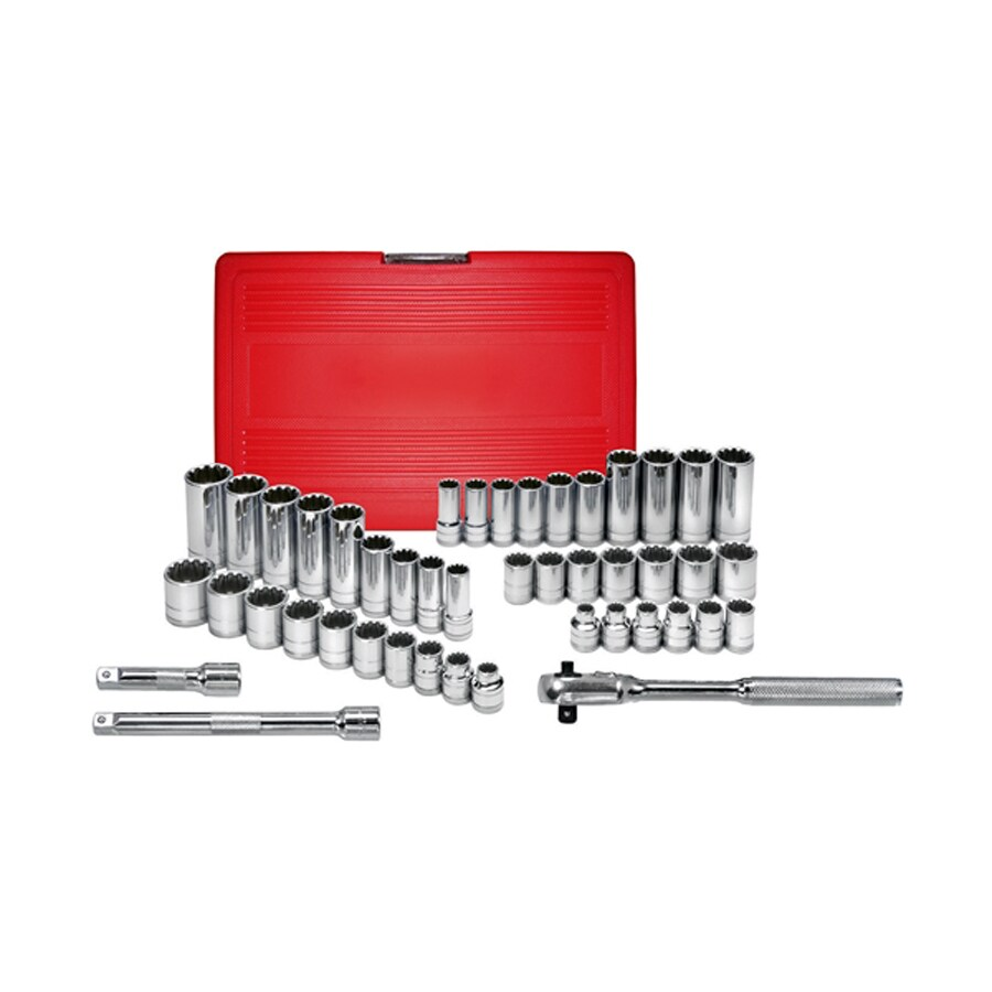 K Tool International 45-Piece Standard (SAE) and Metric Combination 3/8-in Drive Spline Socket Set with Case