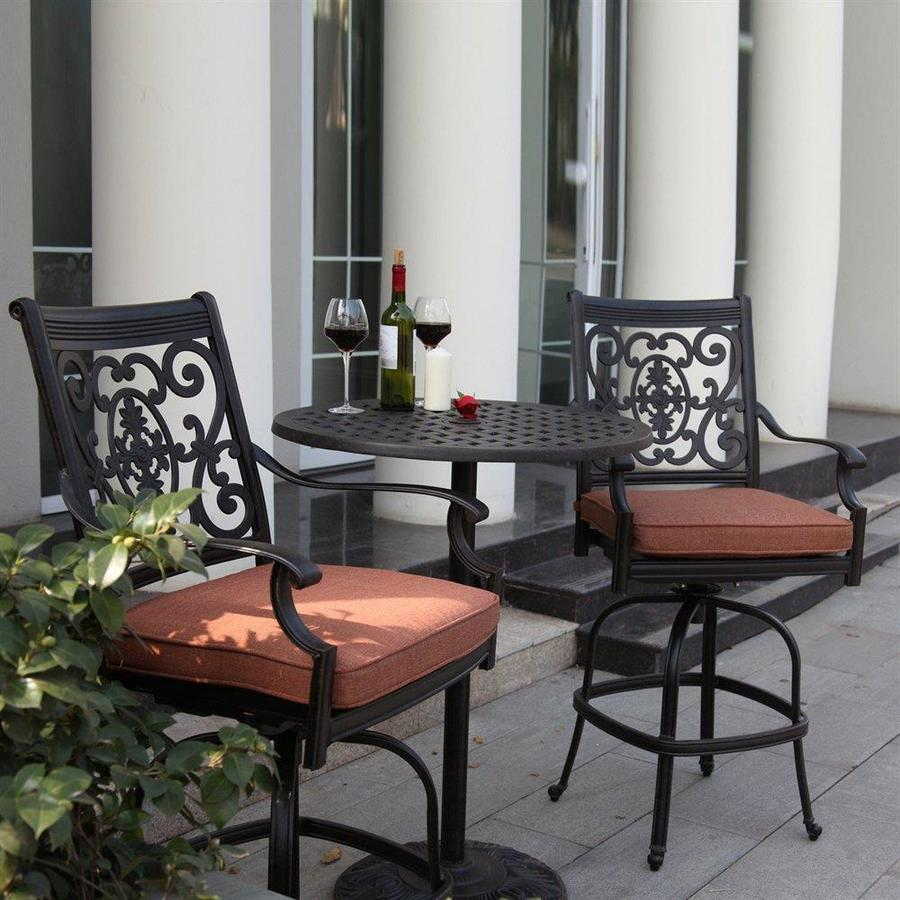 Darlee St. Cruz 3-Piece Antique Bronze Aluminum Bar Patio Dining Set