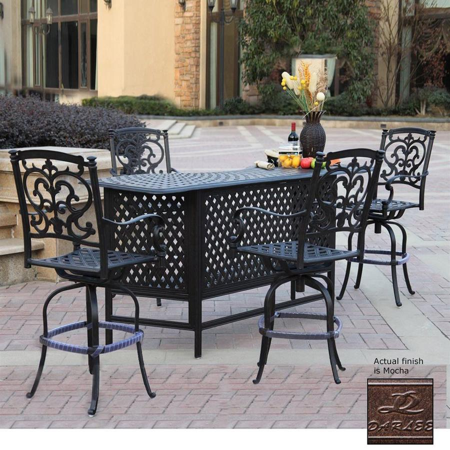 Darlee Santa Barbara Mocha Aluminum Patio Bar with 4 Stools
