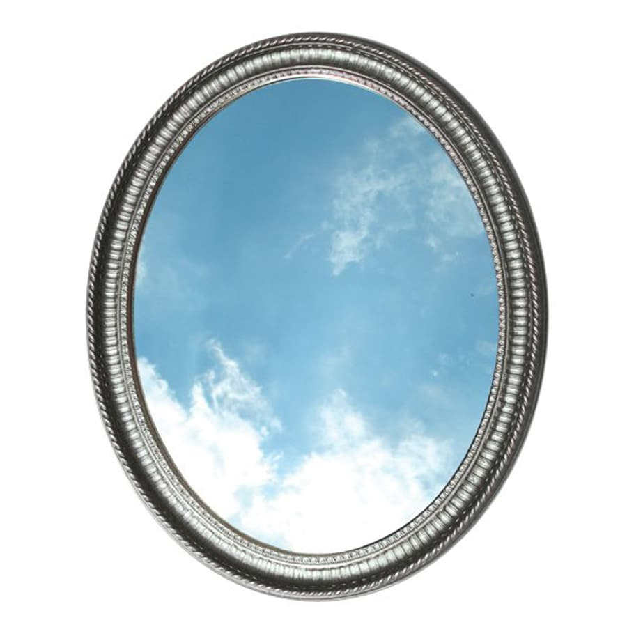 American Pride Middleton 25-in W x 31-in H Pewter Oval Bathroom Mirror