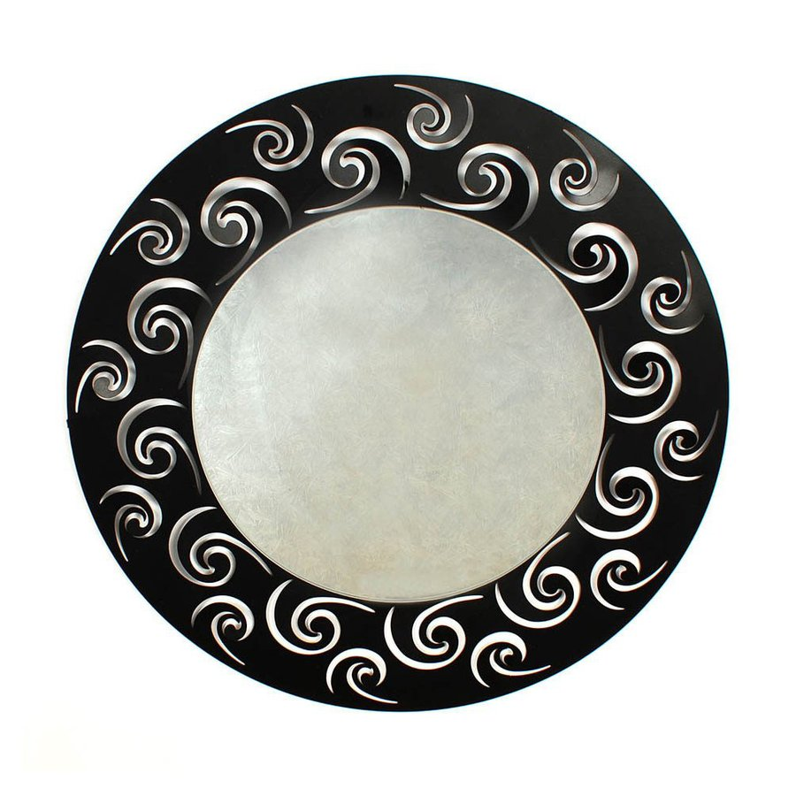 Ashton Sutton Black Polished Round Wall Mirror