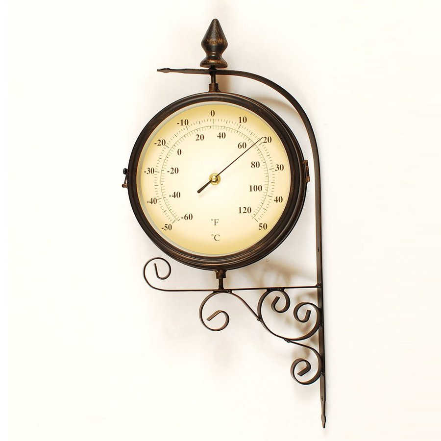 Ashton Sutton Indoor/Outdoor Wrought Iron Bracket Thermometer with Clock