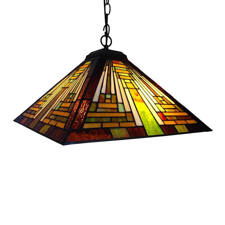 Chloe Lighting Mission 23-in Bronze Craftsman Single Stained Glass Pendant