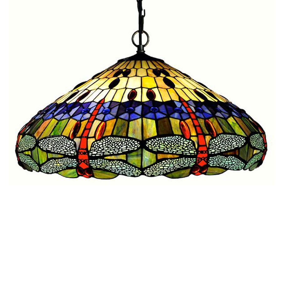 Chloe Lighting Dragonfly 24-in Bronze Tiffany-Style Single Stained Glass Dome Pendant