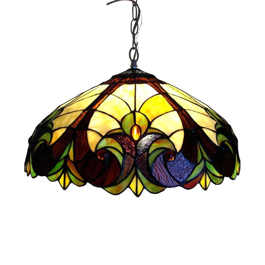 Chloe Lighting Victorian 18-in Bronze Tiffany-Style Single Stained Glass Dome Pendant