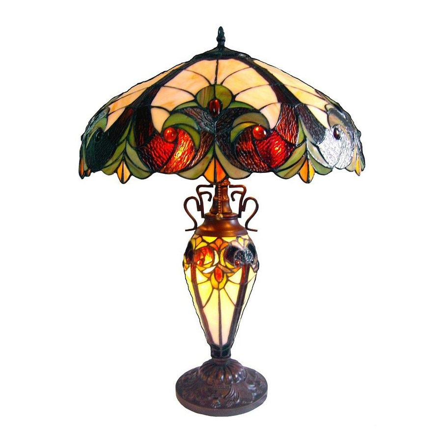 Chloe Lighting Victorian 25-in 3-Way Bronze Tiffany-Style Indoor Table Lamp with Glass Shade