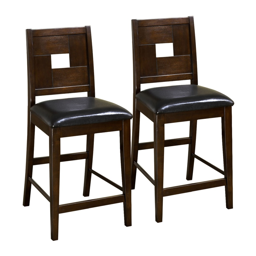 Furniture of America Set of 2 Primrose Dark Walnut 26-in Counter Stool