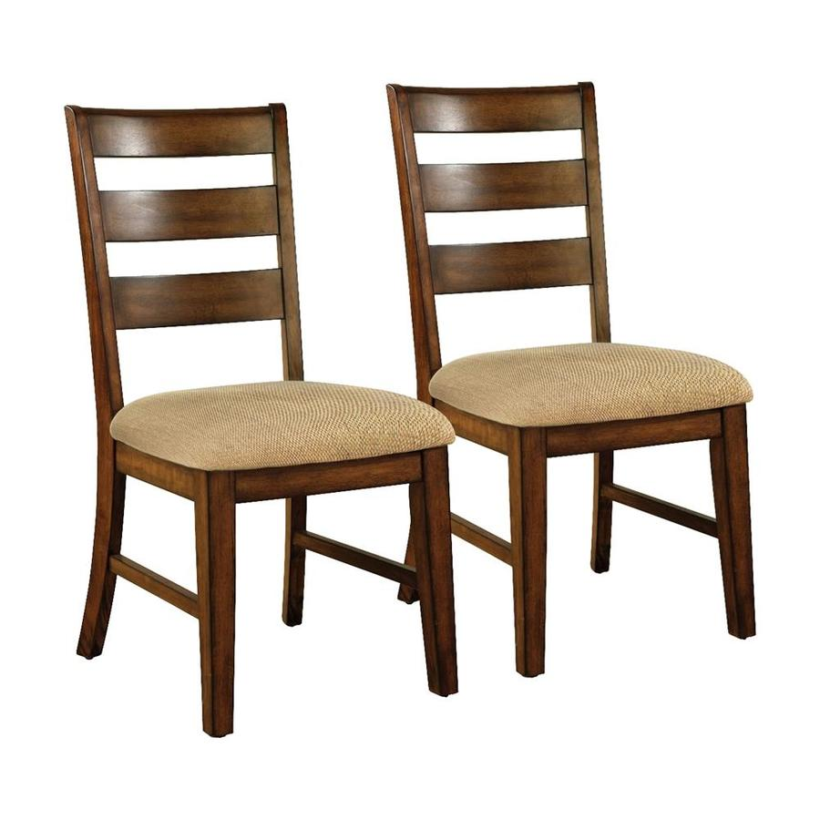 Furniture of America Set of 2 Priscilla Antique Oak Side Chairs