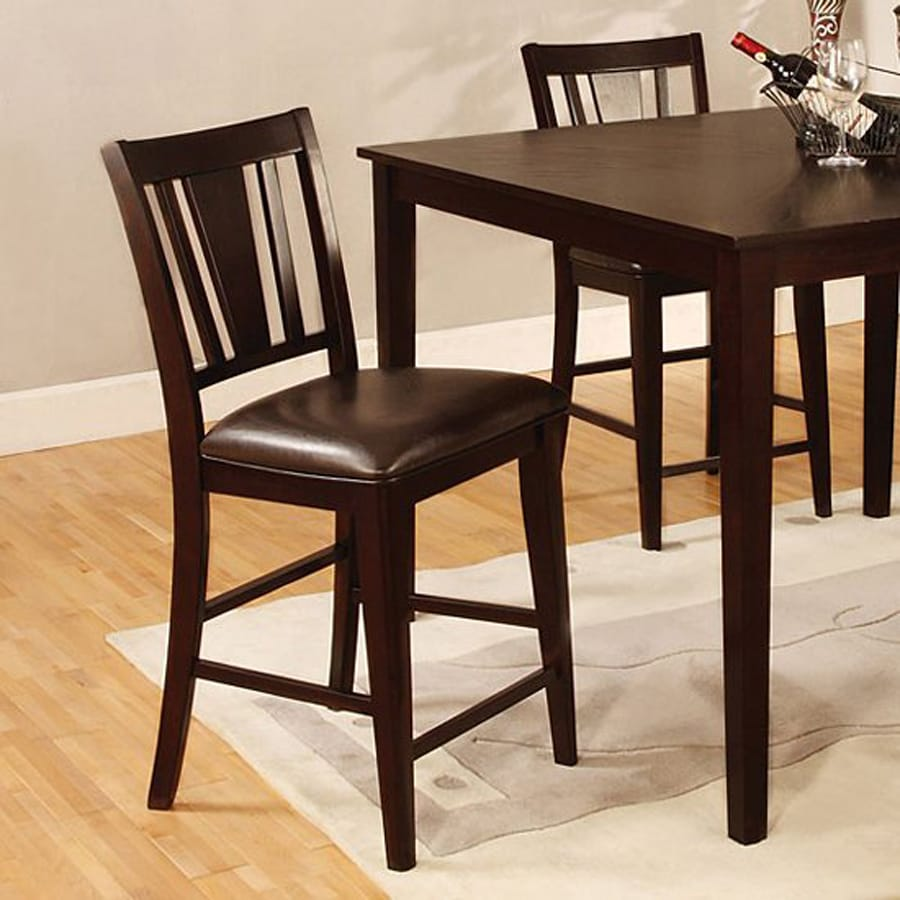 Furniture of America Set of 2 Bridgette Espresso 25.5-in Counter Stool