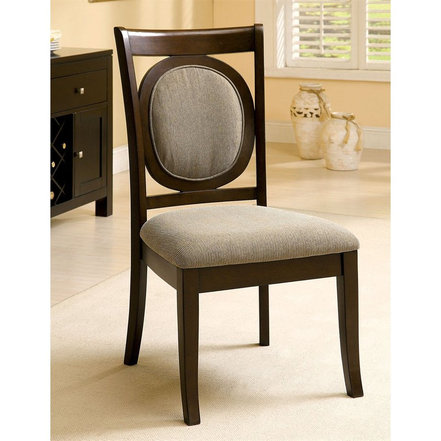 Furniture of America Set of 2 Evelyn Dark Walnut Side Chairs