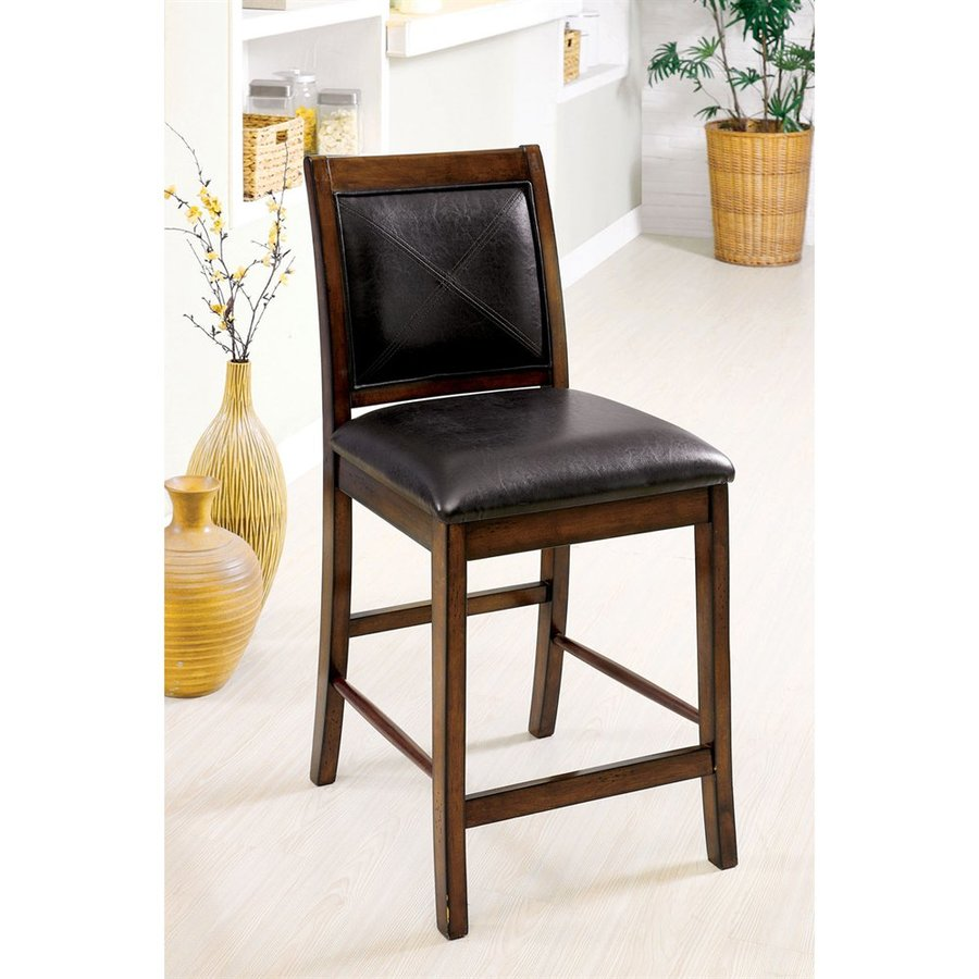 Furniture of America Set of 2 Living Stone Tobacco Oak 26-in Counter Stools