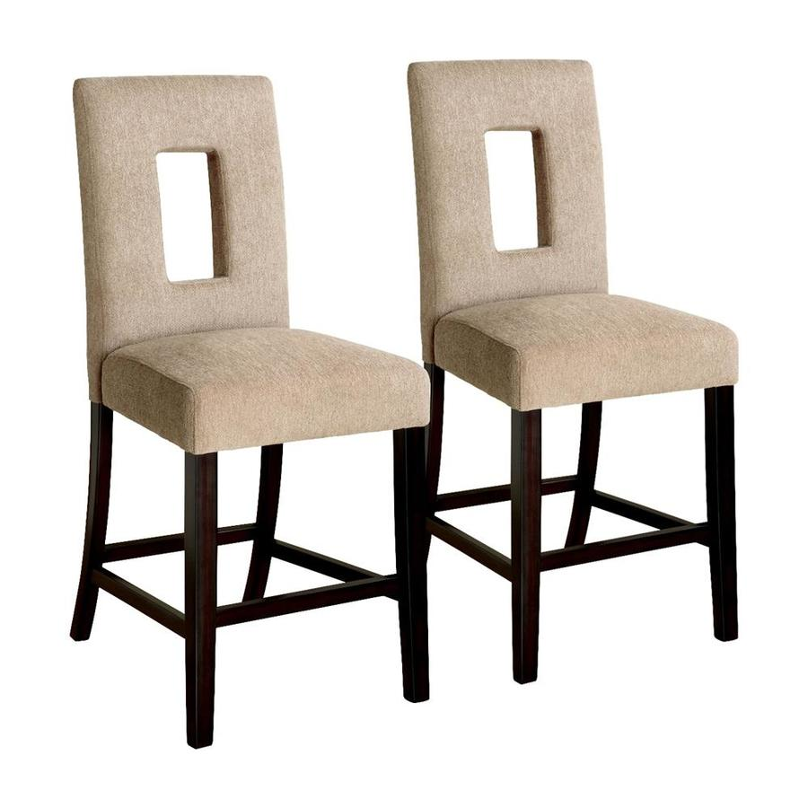 Furniture of America Set of 2 West Palm Espresso 25.5-in Counter Stool