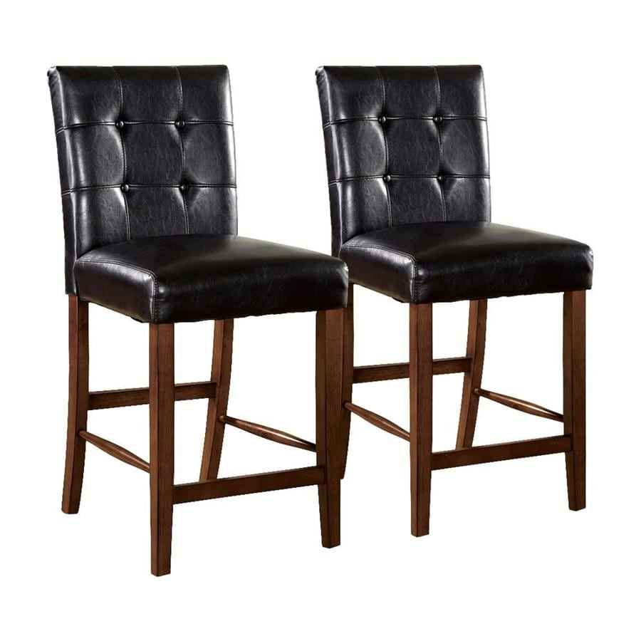 Furniture of America Set of 2 Rockford Dark Oak 26-in Counter Stools