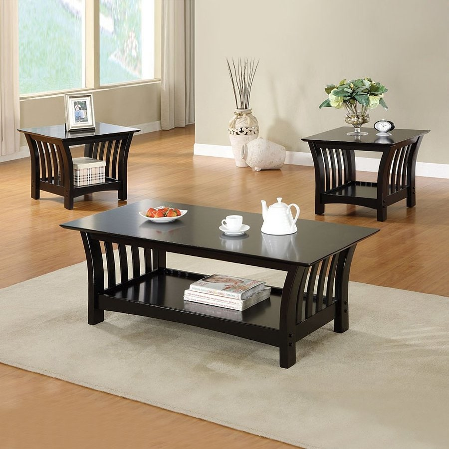 Black coffee table set - Furniture Of America Milford 3 Piece Black Accent Table Set
