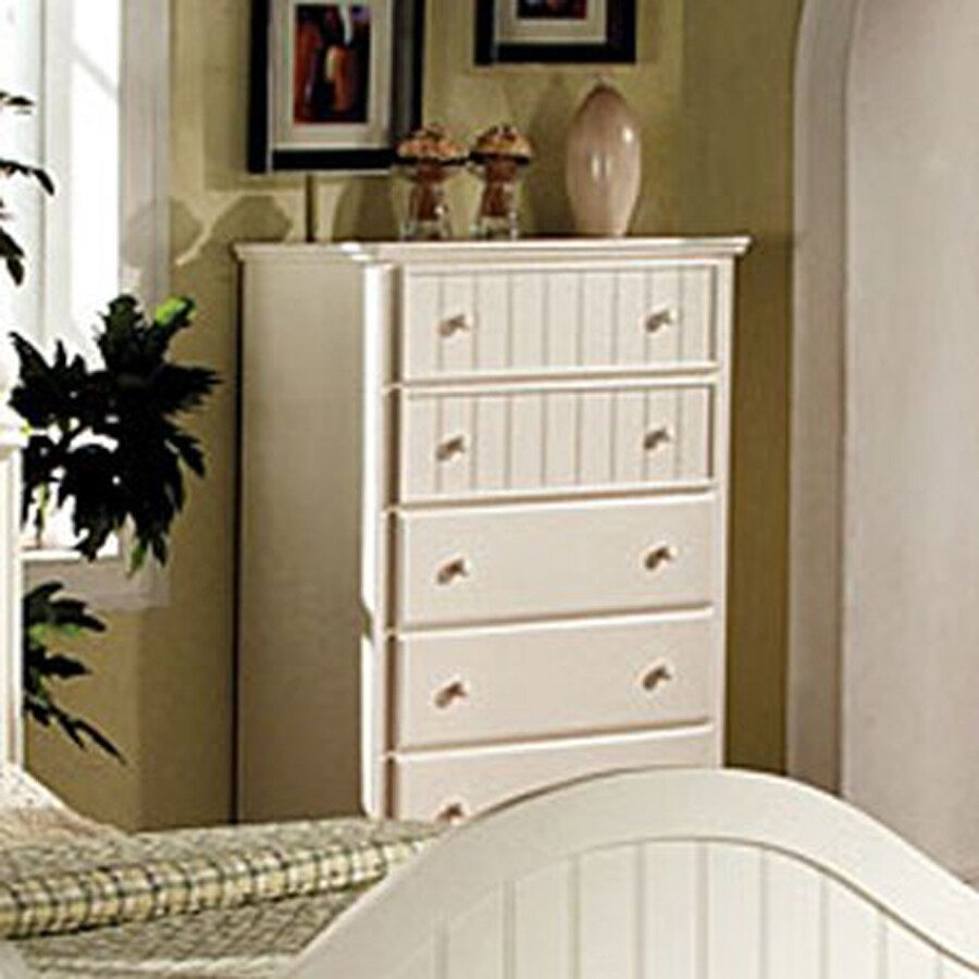 Furniture Of America Cape Cod White Asian Hardwood 5 Drawer Chest
