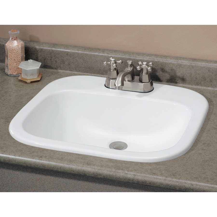 Cheviot Ibiza White Drop-in Rectangular Bathroom Sink with Overflow