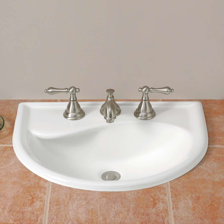 Cheviot Calypso White Drop-in Semi-Circle Bathroom Sink with Overflow
