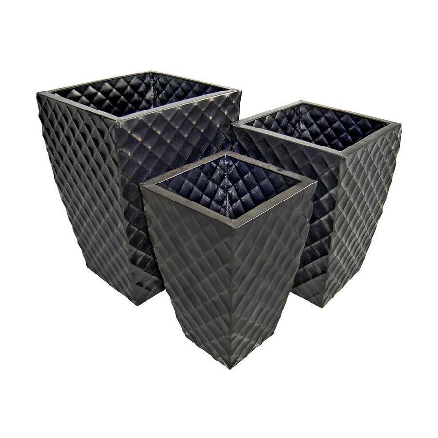 Cheung's 14.5-in x 20-in Black Metal Diamond Embossed Planter