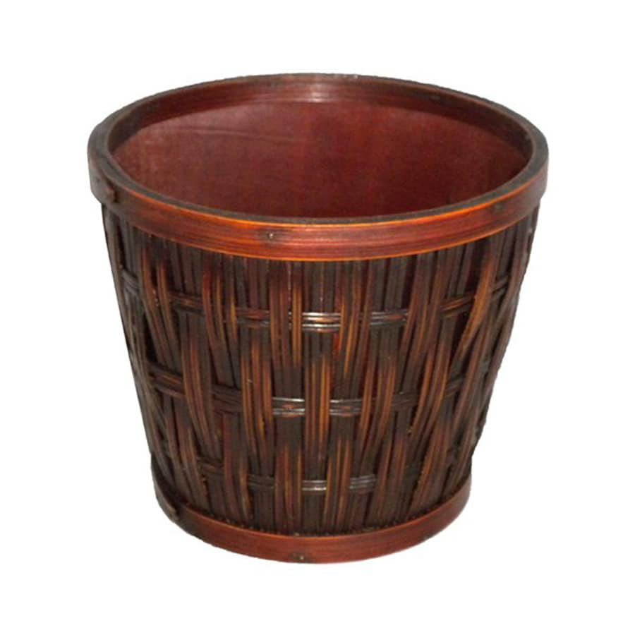Cheung's 7-in x 6-in Brown Wood Woven Planter