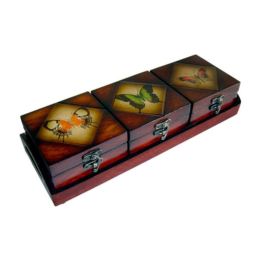Cheung's Set of 3 Butterfly Wooden Decorative Boxes
