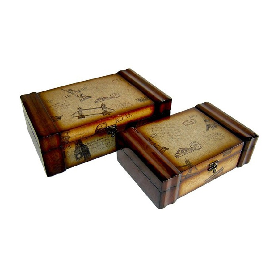Cheung's Set of 2 Postal Carte Wooden Decorative Boxes