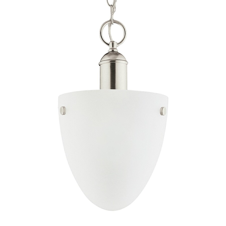 Sea Gull Lighting Metropolis 8.5-in Brushed Nickel Mini Etched Glass Acorn Pendant