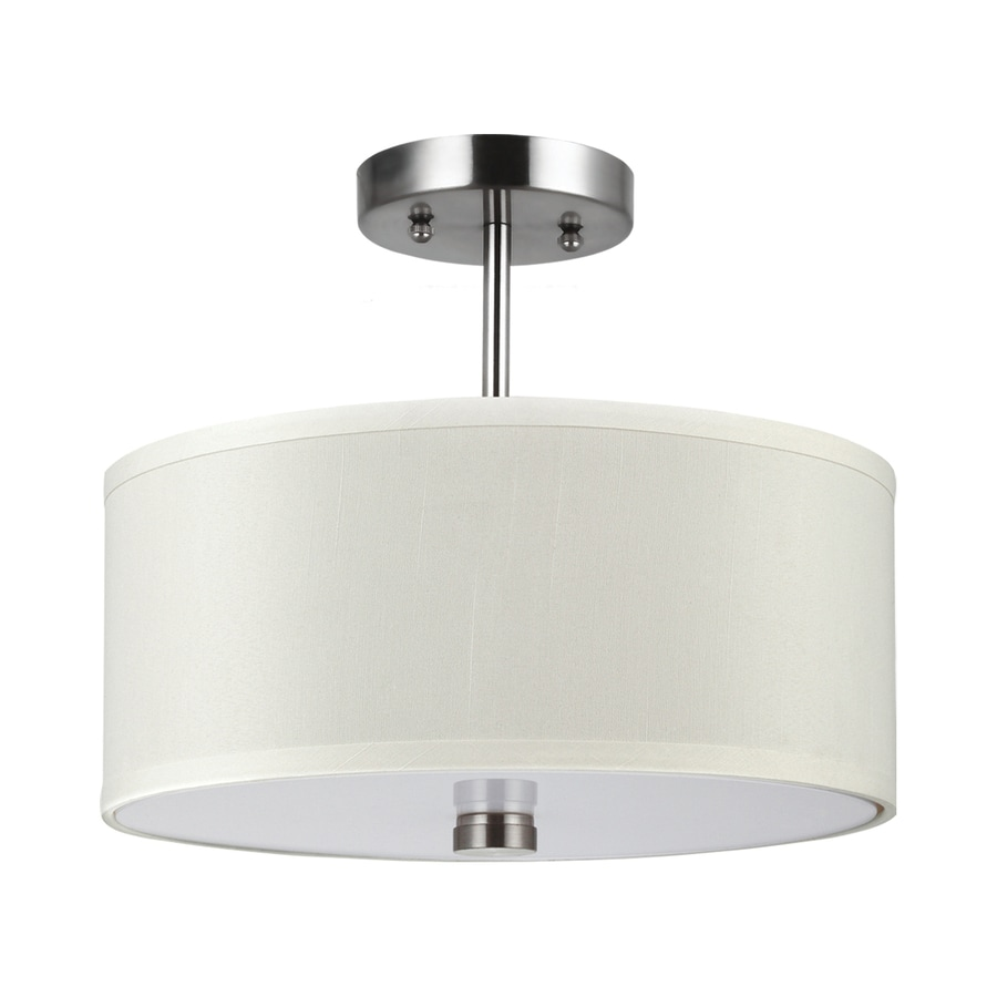 Sea Gull Lighting Dayna Shade Pendants 14-in W Brushed Nickel Fabric Semi-Flush Mount Light