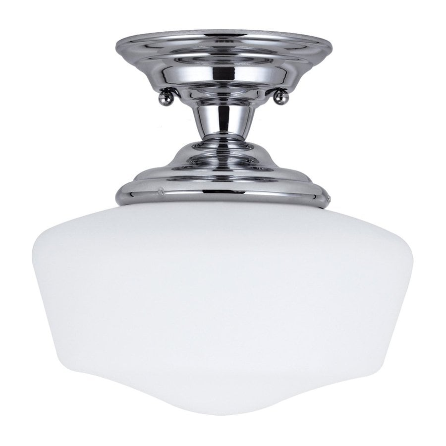Sea Gull Lighting Academy 11.5-in W Chrome Frosted Glass Vintage Semi-Flush Mount Light