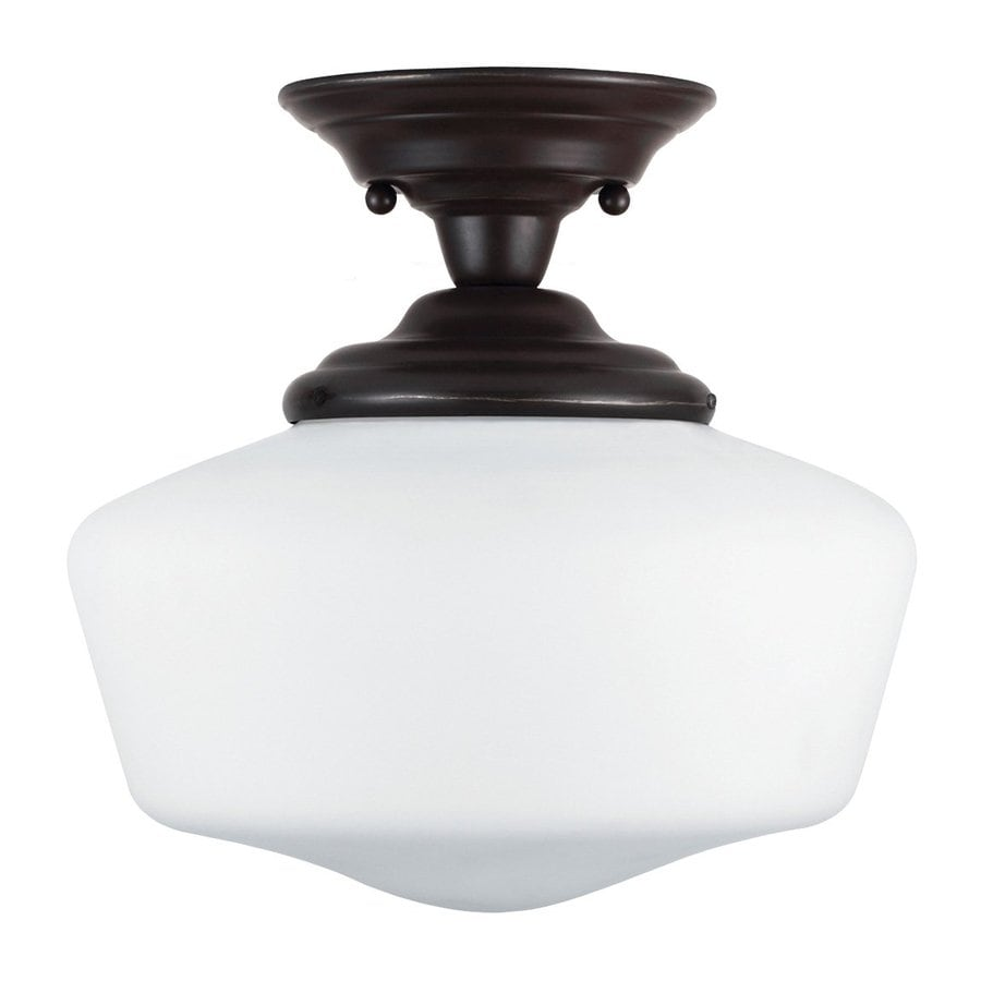 Sea Gull Lighting Academy 11.5-in W Heirloom Bronze Frosted Glass Vintage Semi-Flush Mount Light