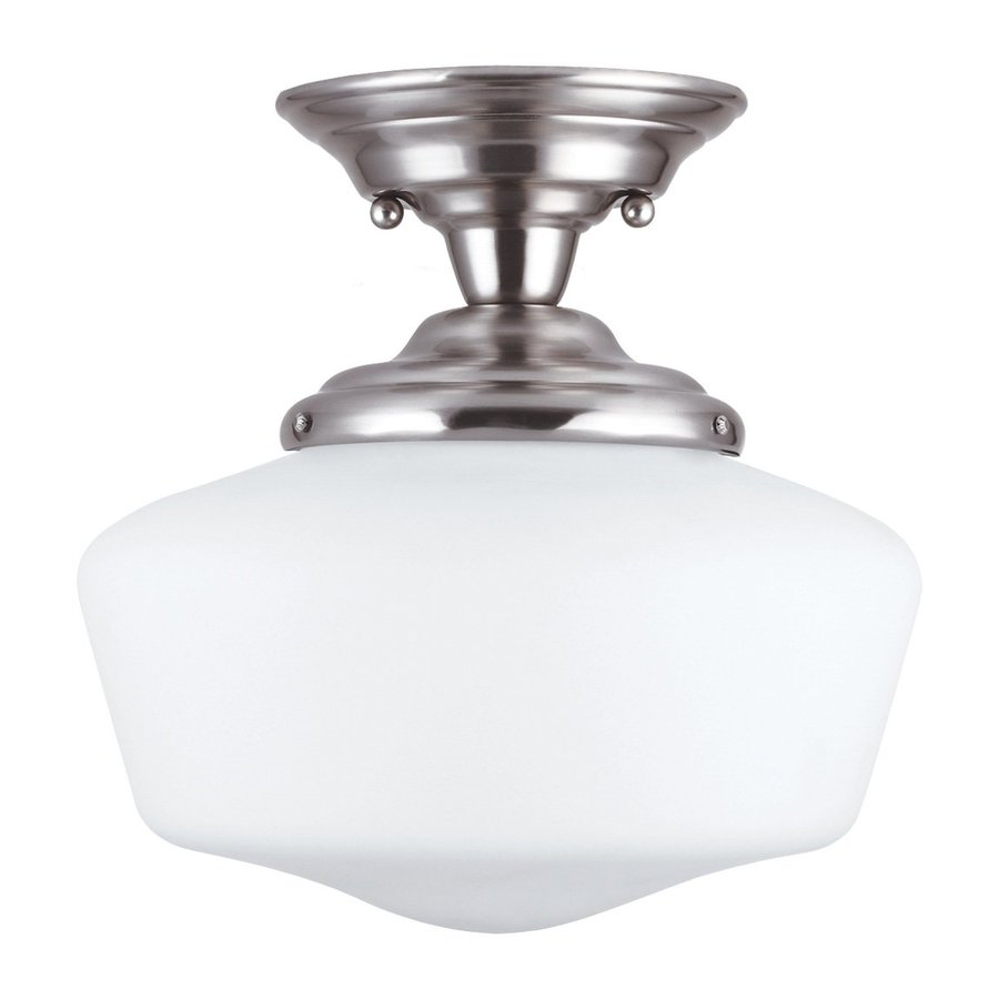 Sea Gull Lighting Academy 11.5-in W Brushed Nickel Frosted Glass Vintage Semi-Flush Mount Light
