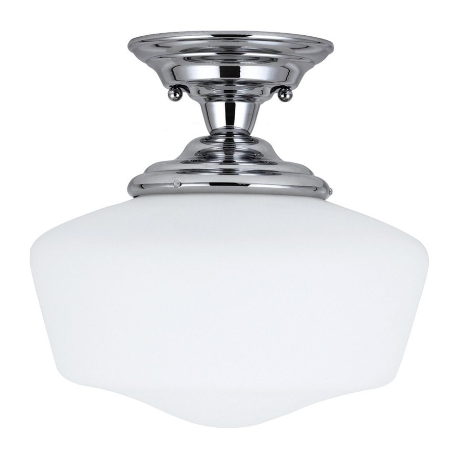 Sea Gull Lighting Academy 13-in W Chrome Frosted Glass Vintage Semi-Flush Mount Light