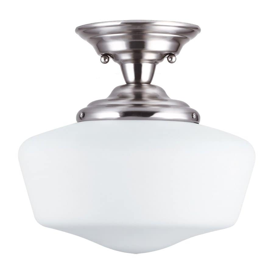 Sea Gull Lighting Academy 13-in W Brushed Nickel Frosted Glass Vintage Semi-Flush Mount Light