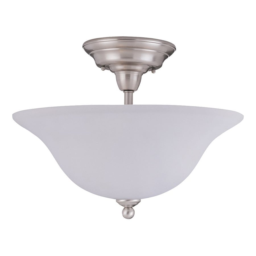 Sea Gull Lighting Sussex 15.75-in W Brushed Nickel Frosted Glass Semi-Flush Mount Light
