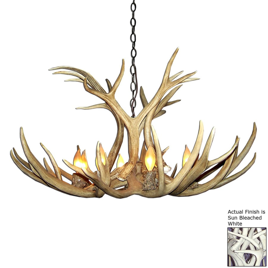 Canadian Antler Design Mule Deer 29-in 6-Light White Rustic Abstract Chandelier