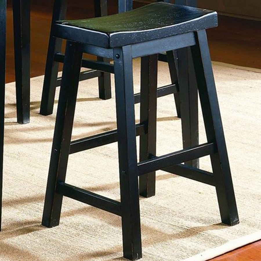Homelegance Set of 2 Saddleback Black Sand-Through 24-in Counter Stools